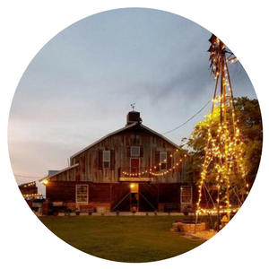 barn venue with Christmas lights